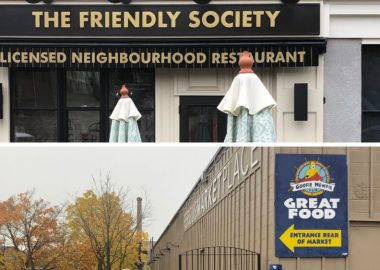 The entrance to The Friendly Society in Elora and the entrance to The Goofie Newfie in Fergus.