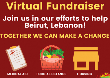 A red graphic event advertisement by the Lebanese Canadian Society of British Columbia for a fundraiser for the Beirut explosion