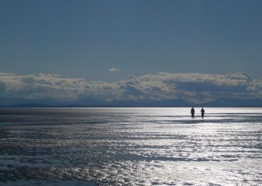 Two people walk in the Pacific Ocean on a sunny day.