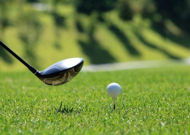 Bâton de golf et balle de golf.