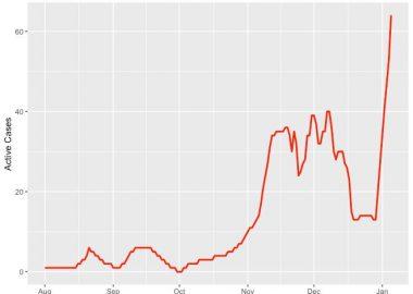 Photo d'un graphique avec le nombre de cas de covid-19 à Peace River