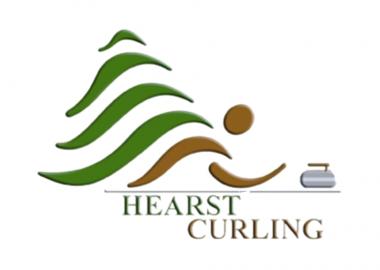 Le logo de Hearst Curling qui est un bonhomme allumette qui lance une pierre de curling