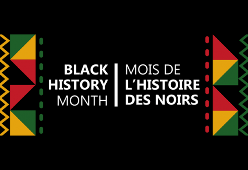 Black History Month is written in white text on a black background with pan-African colours on either side of the text.
