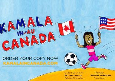 Un dessin de Kamala en jeune fille qui tient les drapeaux du Canada et les États-Unis avec le titre de la BD.