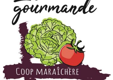 Dessin d'une pomme de laitue et d'une tomate, formant le logo de La gourmande