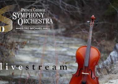 A violin propped up by a stream in winter with text over top that reads Prince George Symphony Orchestra livestream