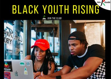 A screen shot of part of the Black Youth Rising poster. In Yellow text over a black background are the words,