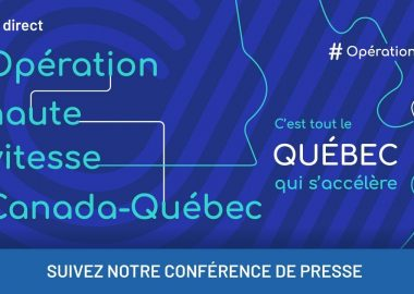The royal blue logo for the Operation haute vitesse internet program by the Quebec government