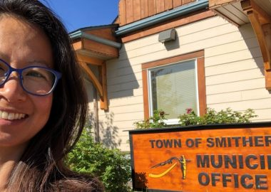 A photo of Mika Meyer outside the Town of Smithers municipal office.