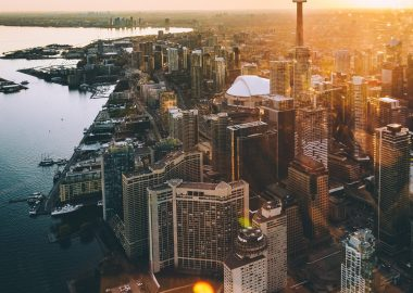 bird's eye view of Downtown Toronto with the CN Tower