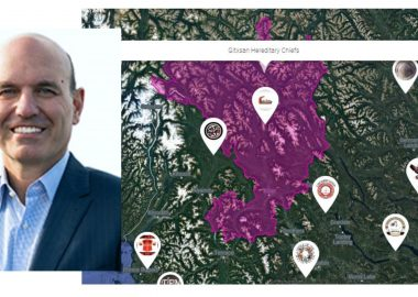 Side by side photos of a headshot of Nathan Cullen on the left next to a green map with a purple outline of an area in northern BC.