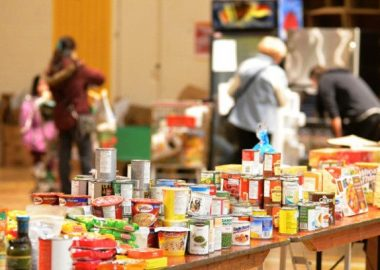 A photo of food collection at the Club Richelieu fundraising event.
