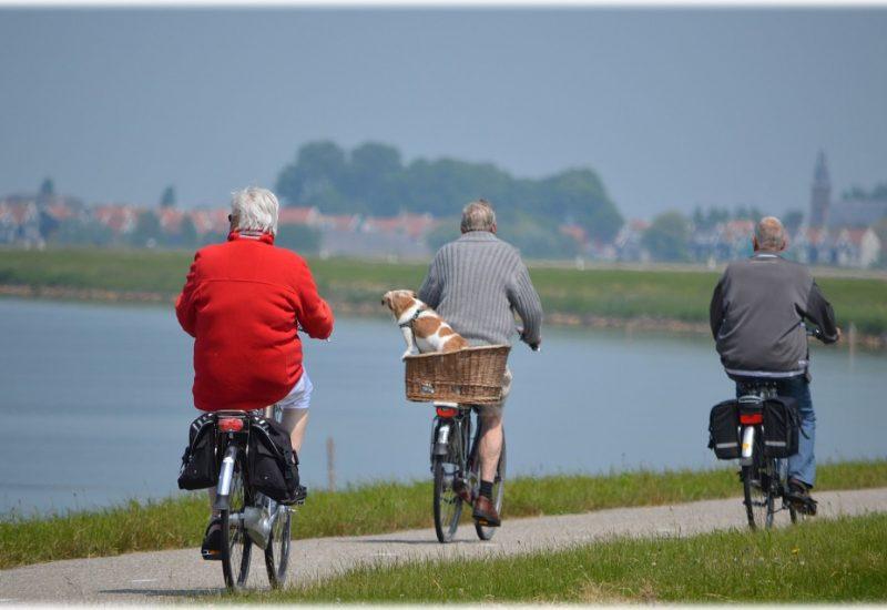 Des gens qui font du vélo.