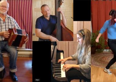Un collage de quatre artistes. Un accordéoniste, un bassiste, une pianiste et une danseuse.