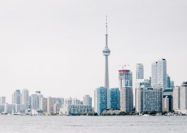 Photo of Toronto skyline on a cloudy day