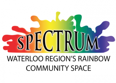 The spectrum logo featuring a stylized colour blob which follows the rainbow from red to purple. The word