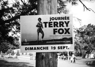 A sign on a telephone pole advertising the 40th annual Pontiac Terry Fox Run.