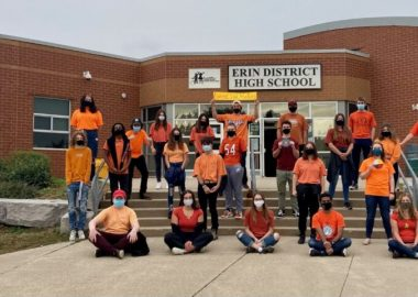Indigenous Studies students proudly wear their Orange Shirts out front of Erin District High School.