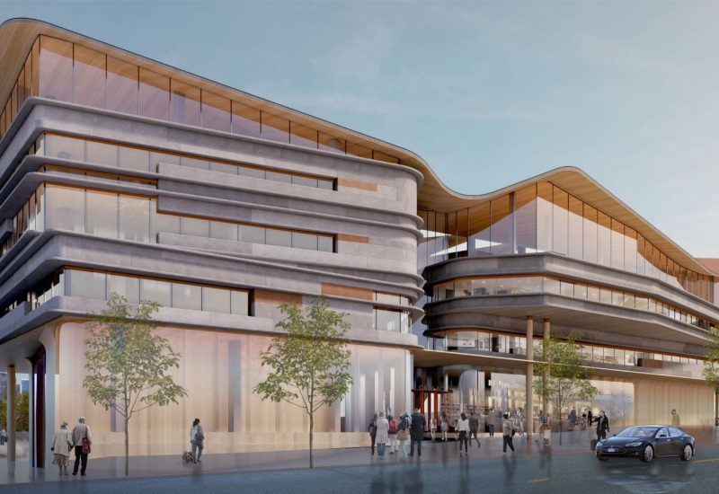 Rendering of the OPL-LAC Joint Facility, view from Albert Street at sunset.