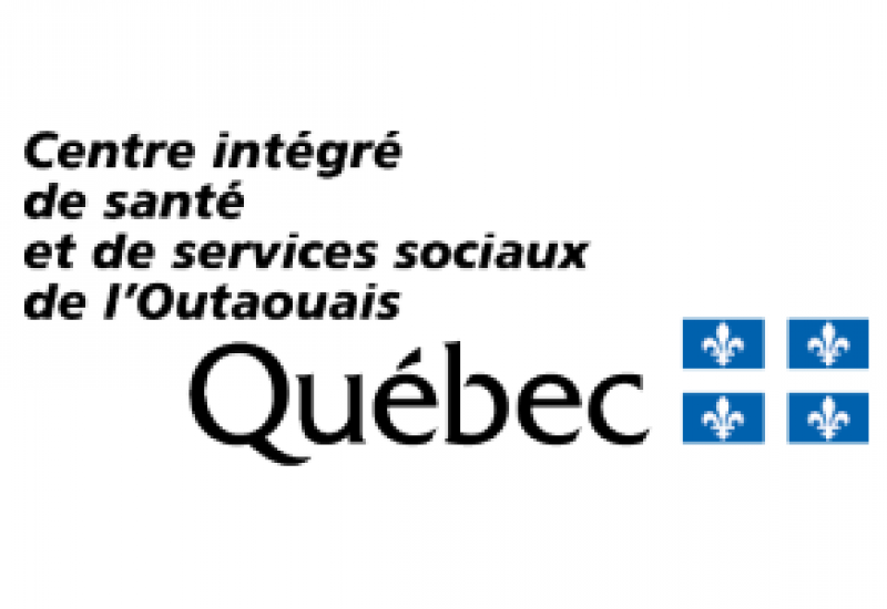 The blue, white and black logo of the CISSS with a Quebec flag on it.
