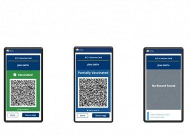 Three phone screens showing vaccine passport options